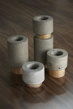 Dewi concrete votive candle holder set by FunkTastik on Etsy