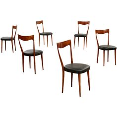 Set Of Six Dining Chairs | From a unique collection of antique and modern dining room chairs at https://www.1stdibs.com/furniture/seating/dining-room-chairs/