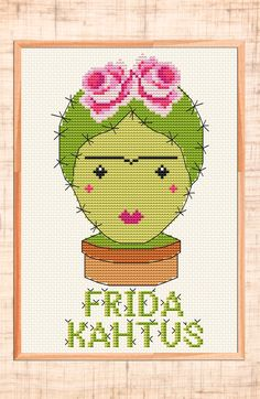 Modern cross stitch pattern Cactus cross stitch Frida Kahlo xstitch Frida cross stitch Funny