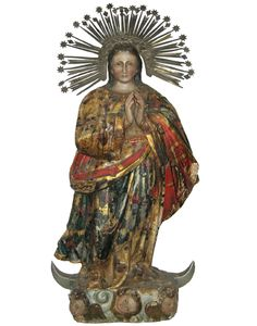 """This large, hand-carved, hand-painted, free-standing statue of the Virgin Mary (specifically, """"Immaculate Conception Mary"""") is from the 19th century. She stands with her hands clasped and angels at her feet, while a halo made from metal stars and hearts radiates out around her head. 31"""" H x 13"""" W x 5.5"""" D"""