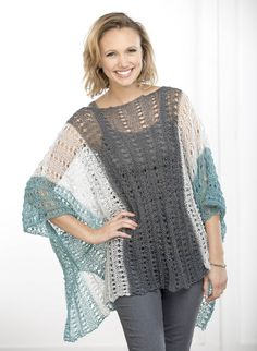 Free Pattern!  The Summer Poncho in FibraNatura Flax.