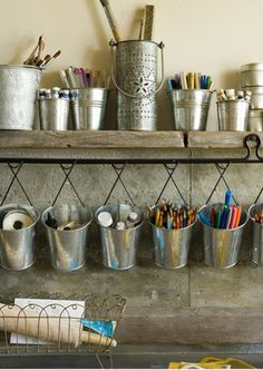 crafting storage galvanised hanging buckets