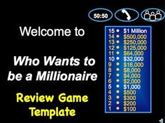 who want to be a millionaire game template - 1000 images about review games for school on pinterest