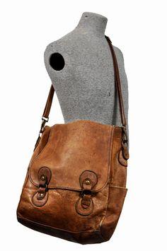 goodbye heart vintage: vintage leather messenger bag / back pack