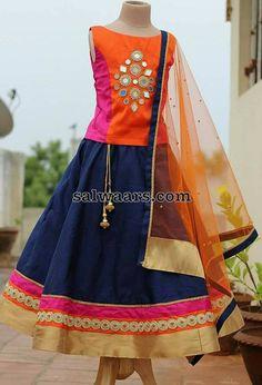 Navy Blue Lehenga Mirror Blouse - Indian Dresses