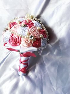 Bridal Bouquet.Satin Ribbon Rose flower by cristinacrystal on Etsy