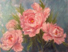 Trois pivoines, tableau à la peinture à l'huile : Peintures par les-ptites-toiles-de-patricia