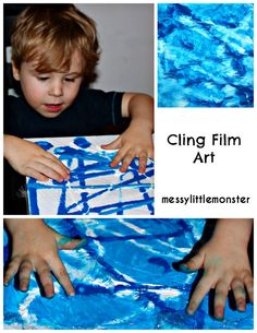 Messy Little Monster: Cling Film Art: Process Art for Kids Painting Activities, Craft Activities For Kids, Toddler Activities, Crafts For Kids, Diy Crafts, Baby Painting, Painting For Kids, Art For Kids, Toddler Painting Ideas