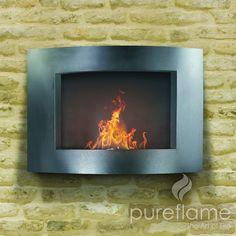 "Pureflame 20"" Wall Mount Bio-Ethanol Fireplace Adena"