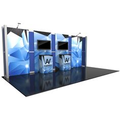 """232.25""""w x 94.5""""h x 19.63""""d aluminum extrusion frame 4 x push-fit fabric graphic panels 10 x rigid graphic accents 2 x counters near backwall 2 x medium monitor mounts,can hold monitor 26-40""""/max weight 50 lbs 2 x Lumina 200 LED floodlights 1 x SCRATE LCD monitors not included"""