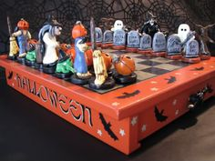 Polymer Clay Halloween Chess Set. I would  learn how to play chess