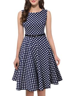 Shengdilu Womens Rockabilly Retro Audrey Swing Skaters Party Dress M Blue *** Check out the image by visiting the link. Funky Dresses, Trendy Dresses, Vintage Dresses, Nice Dresses, Casual Dresses, Short African Dresses, African Fashion Dresses, Short Dresses, Fashion Outfits