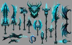 Guild Wars 2 - Weapons by David Bolton on ArtStation. Ninja Weapons, Cosplay Weapons, Anime Weapons, Fantasy Weapons, Fantasy Kunst, Fantasy Art, Character Concept, Character Design, Sword Design