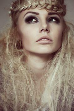 Valerie Volchkova  - braid + messy hair