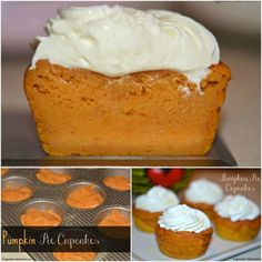 PUMPKIN PIE CUPCAKES (topped with Cream Cheese Whipped Cream)
