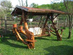 Cool wooden swing!