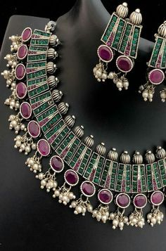 Buy online Green And Pink Stone Work Necklace Set Online.Shop more Handloom Stone Work Necklace Set at Luxurionworld. Gold Jewelry For Sale, Jewelry Art, Antique Jewelry, Antique Silver, Gold Temple Jewellery, Silver Jewellery Indian, Silver Jewelry, Silver Anklets, Oxidised Jewellery