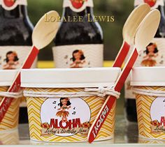 Aloha Ice Cream Cartons with Spoons by Loralee by LoraleeLewis