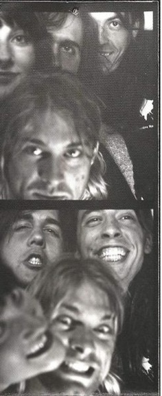 "Nirvana on Photo Booth "" They are all laughing but I think the top photo says a lot."""