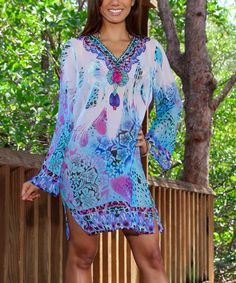 Look what I found on #zulily! Blue & White Sheer Jungle V-Neck Tunic by La Moda Clothing #zulilyfinds