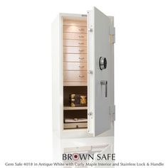 Interior features of jewellery safes include hardwood jewelry safe drawers available in your choice of finish and a variety of sizes to fit your needs, ultra-soft Ultrasuede lined interiors, automatic and efficient LED interior lighting, fingerprint entry, customized interiors, and more.