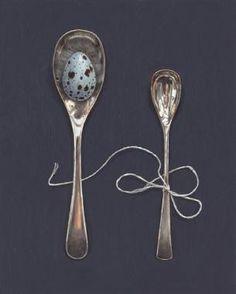 Speckled Eggs, Art Fair, Spoons, Online Art, Mustard, Silk, Cutlery, Tableware, Dinnerware