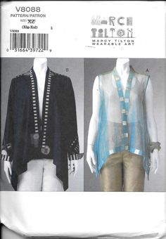 Vogue 8559 Misses Marcy Tilton Vest Jacket Top XLarge/XXLarge Plus Size 20-26 V8559 UNCUT Wearable Art XL-XXL by vintagepatternstore on Etsy