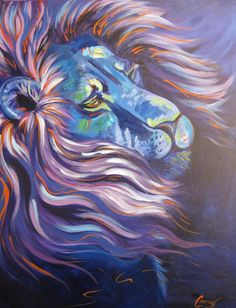 """""""Enchanted"""" daily painting challenge Lion in Purple and Blue: Acrylic Painting For Beginners, Acrylic Painting Lessons, Acrylic Painting Tutorials, Painting Videos, Painting Techniques, Lion Painting, Painting & Drawing, The Art Sherpa, Art Tutorials"""