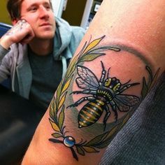 botanical bee tattoo - Google Search