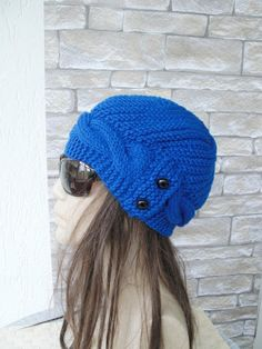 Womens Hat   Knit hat  Valentines day  Cobalt Blue Cloche by Ebruk,