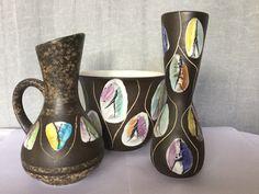 Colourful West German Bay ceramics from the decor Kongo Lava, Pots, Germany, Sparkle, Pottery, Ceramics, Tableware, Color, Design