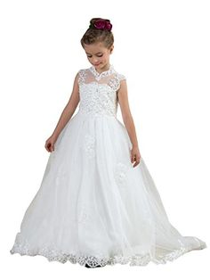32c457f1ac Mulanbridal Kids Lace Appliqued Keyhole Back Tulle Wedding Flower Girl  Pageant Dress