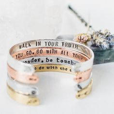 Create the perfect personalized gift for her or design a treasure just for you. Share your authentic truth boldly with unique symbols and an inspirational quote to reflect the unparalleled perfection of all that you are. Want to make a meaningful stack on your wrist? This is for 1