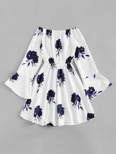 Shop Flounce Sleeve Drawstring Waist Floral Dress at ROMWE, discover more fashion styles online. Girls Fashion Clothes, Teen Fashion Outfits, Mode Outfits, Outfits For Teens, Girl Fashion, Girl Outfits, Fashion Dresses, Emo Fashion, Fashion Styles