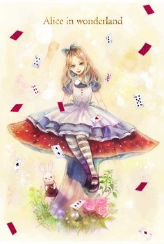 ✮ ANIME ART ✮ Alice in Wonderland. . .Alice. . .White Rabbit. . .mushroom. . .playing cards. . .apron. . .striped socks. . .head bow. . .realism. . .cute. . .kawaii