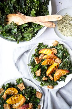 http://www.thegreenlife.ca/creamy-kale-salad-w-grilled-peaches-spicy-croutons/