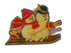 Holiday snowmen on skis pin brooch enamel on gold tone...