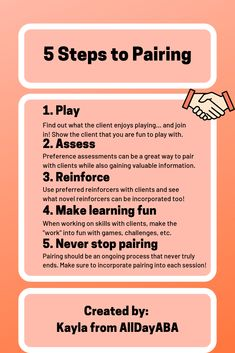 Pairing often involves non-contingent reinforcement and lots of play! AllDayABA provides BCBAs, RBTs, and other professionals with recommendations on how to pair with clients in 5 easy steps. Applied behavior analysis can be so much fun! Aba Therapy For Autism, Aba Therapy Activities, Behavioral Analysis, Behavioral Therapy, Behavior Interventionist, Aba Training, Positive Behavior Support, Behavior Analyst, Therapy Worksheets