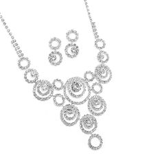 Rhinestone Necklace & Earrings Set with Circle Design  Everything But The Wedding Dress, www.EverythingButTheWeddingDress.com