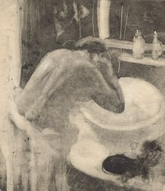 Edgar Degas French, The Washbasin c. Monotype counterproof in black ink on laid paper Mais Edgar Degas, Life Drawing, Painting & Drawing, Degas Drawings, Mirror Art, Expositions, Character Illustration, Art Studios, Art History