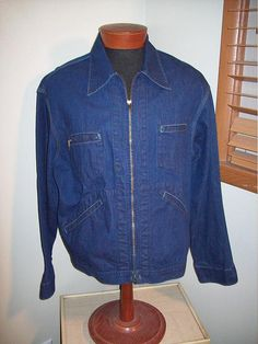 Vintage 50s 60s OshKosh 4 Pocket Work Jean Jacket / Denim