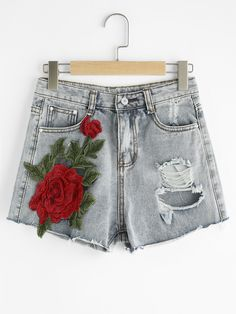 SheIn offers Rose Appliques Ripped Raw Hem Denim Shorts & more to fit your fashionable needs. Best Fashion Designers, Rose Applique, Embellished Jeans, Trendy Collection, Distressed Denim Shorts, Destroyed Jeans, Diy Fashion, Jeans Fashion, Skirt Pants