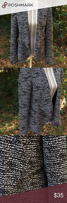 """Halogen Open Blazer Open style Blazer from Halogen (Nordstrom) in black and white. Zipper pocket detail. Can roll up sleeves for a more casual style as in last pic. Light padding in shoulders. Tag says dry clean but has been washed in cold water and hung dry. Measurements, lying flat: Armpit to armpit- 20"""" (across back, open front allows bigger chests) Shoulders across-17"""" Armpit to bottom hem-14"""" Armpit to Sleeve hem-19"""" No: rips, holes, snags, stains. Smoke free home. Halogen Jackets…"""