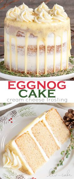 This Eggnog Cake with cream cheese frosting and white chocolate ganache is just the thing to warm you up this Holiday season! This Eggnog Cake with cream cheese frosting and white chocolate ganache is just the thing to warm you up this Holiday season! Best Christmas Desserts, Holiday Cakes, Christmas Treats, Holiday Recipes, Christmas Stuff, Christmas Cookies, Best Christmas Cake Recipe, Christmas Fudge, Recipes