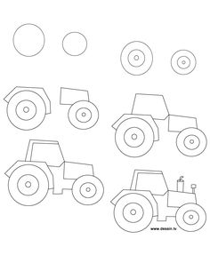 How to draw a tractor, step-by-step. (art, kids, drawing lesson)
