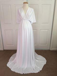 6bbb8019a9a Items similar to White Jersey Maternity Infinity Gown