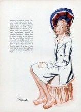 Paulette (Millinery) 1945  Brenot, Fashion Illustration Hats