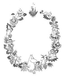 Moomin wreath by Tove Jansson Moomin Tattoo, Moomin Valley, Tove Jansson, Up Book, Love Illustration, Colouring Pages, Kawaii, Tattoo Inspiration, Art Inspo