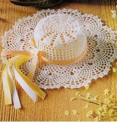 Oggi ho deciso di postarvi degli schemi per fare dei cappellini all'uncinetto.  Se volete potete farli in miniatura ed utilizzarli come bomb...