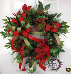 Christmas Door Wreath Outdoor Holiday Wreath Double Bow Traditional Red & Green Poinsettia by www.southerncharmwreaths.com #traditional #christmas #poinsettia #bow